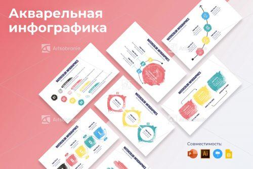 Шаблоны акварельной инфографики